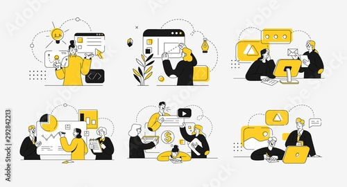 Fototapeta Business concept illustrations. Collection of scenes at office with men and women taking part in business activity. Outline vector illustration. obraz