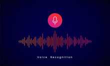 Voice Recognition AI Personal Assistant Modern Technology Visual Concept Vector Illustration Design. Microphone Icon Button With Colorful Sound Wave Audio Spectrum Line On Dark Grid Background