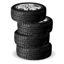 Winter Tire Stack. Tyre Repair Shop. Auto Wheel Vector Illustration. Realistic Automobile Rubber 3d Render With Rim. Cold Snow Worn And Protect. New Quality Tyres Side View For Truck Or Suv
