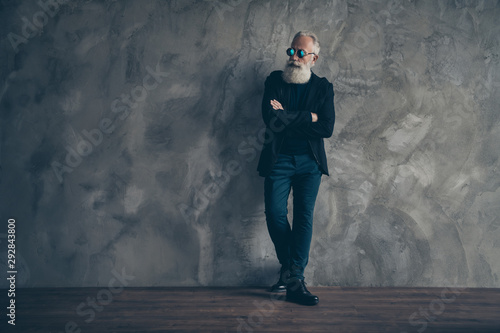 Fototapety, obrazy: Full size profile side photo of elegant harsh masculine man in eyewear eyeglasses crossing his hands looking wearing coat trousers pants isolated over gray background