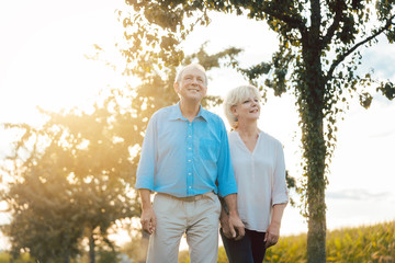 Senior woman and man having a walk along path in the countryside