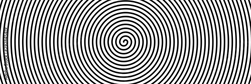 Deurstickers Spiraal Black spiral on white banner 02