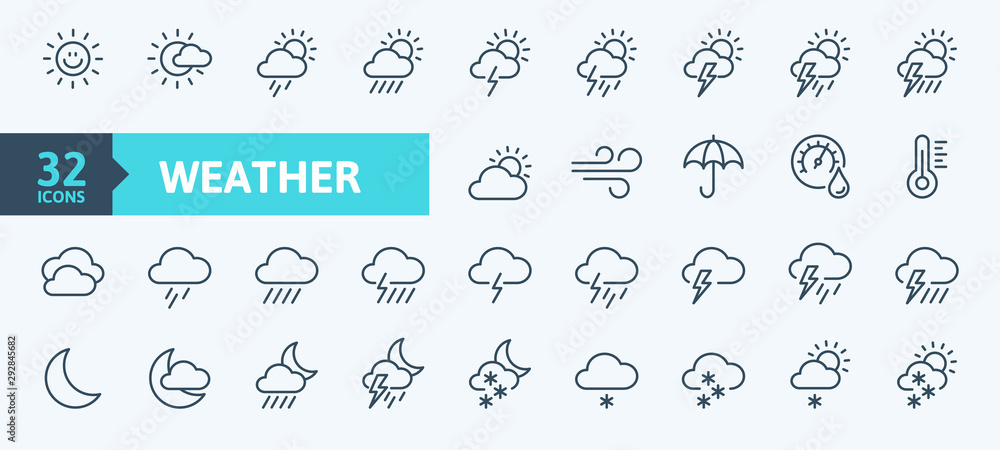 Fototapeta Weather forecast - outline web icon set, vector, thin line icons collection