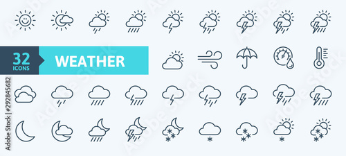 Weather forecast - outline web icon set, vector, thin line icons collection Fototapet