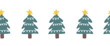 Seamless Christmas Doodle Tree...