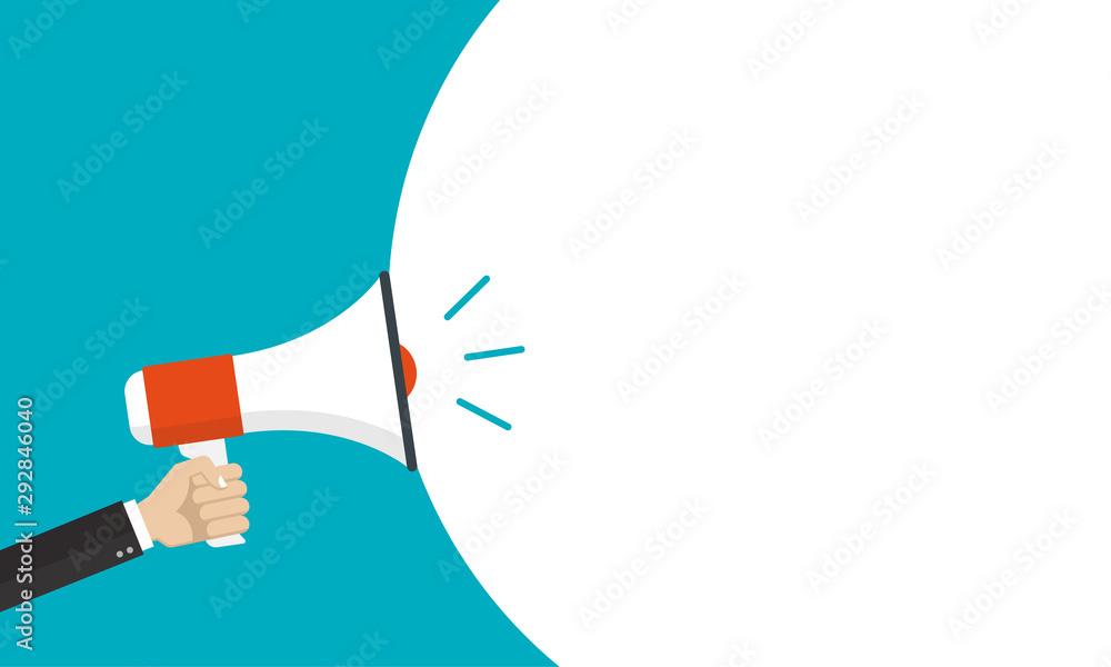 Fototapeta Hand is holding a megaphone or loud speaker. Loudspeaker banner with speech bubble for text. Design concept for business, social media, broadcasting, marketing. Vector illustration.