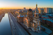 View of St. Petersburg with a drone. Dawn in St. Petersburg. Russia. Rivers Of St. Petersburg. Bypass channel. Church Of The Resurrection. Orthodox church. Religious buildings. Orthodoxy.