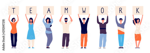 Teamwork concept. Happy employees group standing with teamwork message. Colleagues relationship and friendship vector illustration. Teamwork business people, employee hold banner with letters