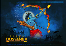 Illustration Of Lord Rama Killing Ravana In Navratri Festival Of Indian Poster For Happy Dussehra