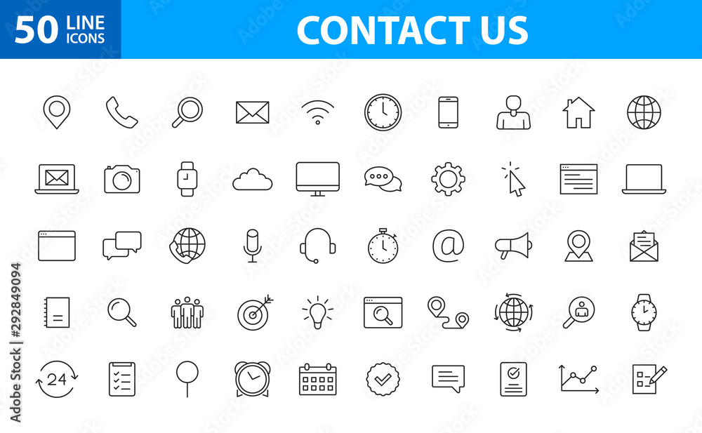 Fototapeta Set of 50 Contact Us web icons in line style. Web and mobile icon. Chat, support, message, phone. Vector illustration.