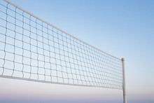Beach Volleyball Net, Summer Vacation, Sport Concept. Isolated Sky Background.