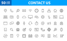 Set Of 50 Contact Us Web Icons...