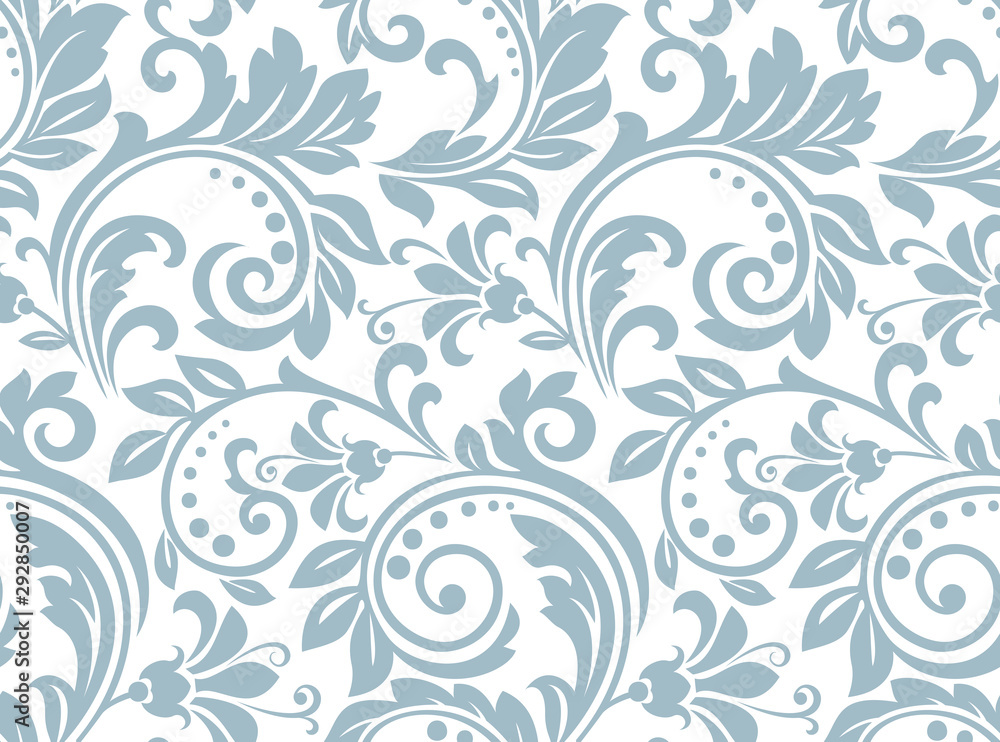 Fototapeta Flower pattern. Seamless white and blue ornament. Graphic vector background. Ornament for fabric, wallpaper, packaging