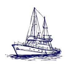 Sailboat, Sailing Yacht, Ship, Boat In The Sea. Hand Drawn Line Art Sketch. Black And White Doodle Vector Illustration, Design For Coloring Book Page