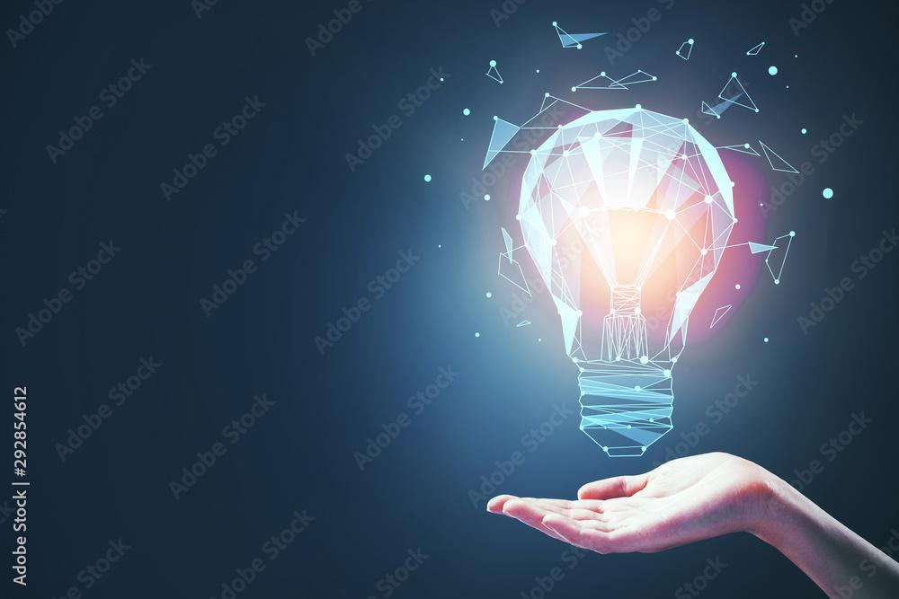 Fototapeta idea concept with bulb in hand