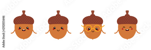 Photo Set, collection of cute and funny cartoon acorn characters for autumn, fall design