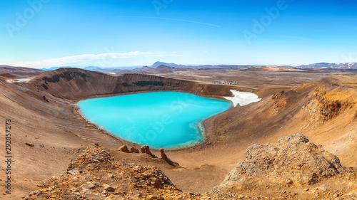 Leinwand Poster Splendid view of famous crater Viti at Krafla geothermal area