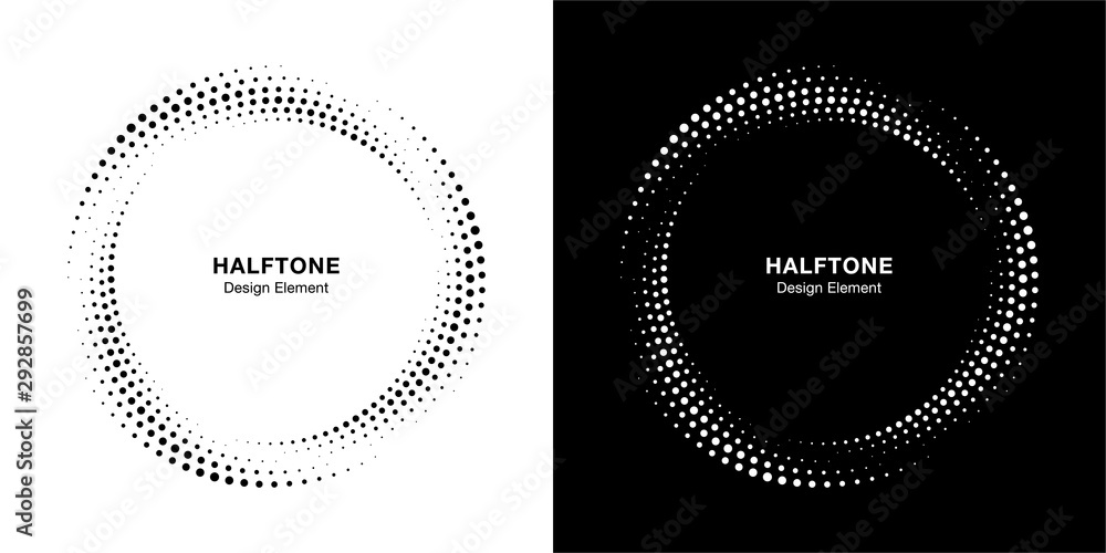 Fototapeta Halftone circle dotted frame circularly distributed set. Abstract dots logo emblem design element. Round border Icon using halftone circle dot texture. Half tone circular background pattern. Vector.