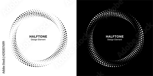 Obraz Halftone circle dotted frame circularly distributed set. Abstract dots logo emblem design element. Round border Icon using halftone circle dot texture. Half tone circular background pattern. Vector. - fototapety do salonu