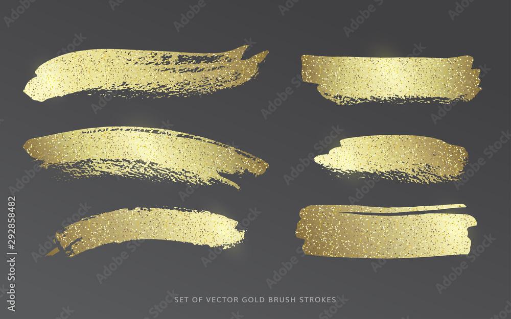 Fototapety, obrazy: Set of vector gold brush strokes with glitter