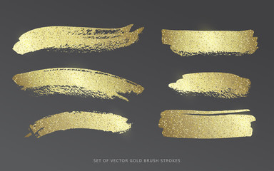 Set of vector gold brush strokes with glitter