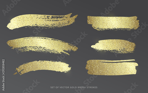 Stampa su Tela Set of vector gold brush strokes with glitter