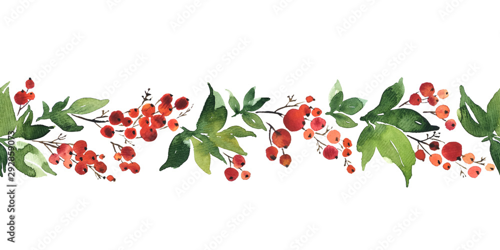 Fototapeta Christmas watercolor horizontal seamless pattern with holly berries
