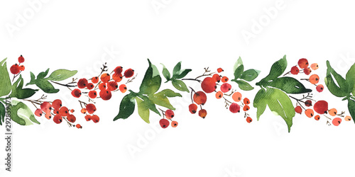 Fototapety, obrazy: Christmas watercolor horizontal seamless pattern with holly berries