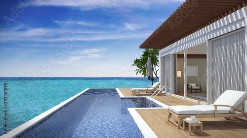 Living pool villa resort beach view Fototapet