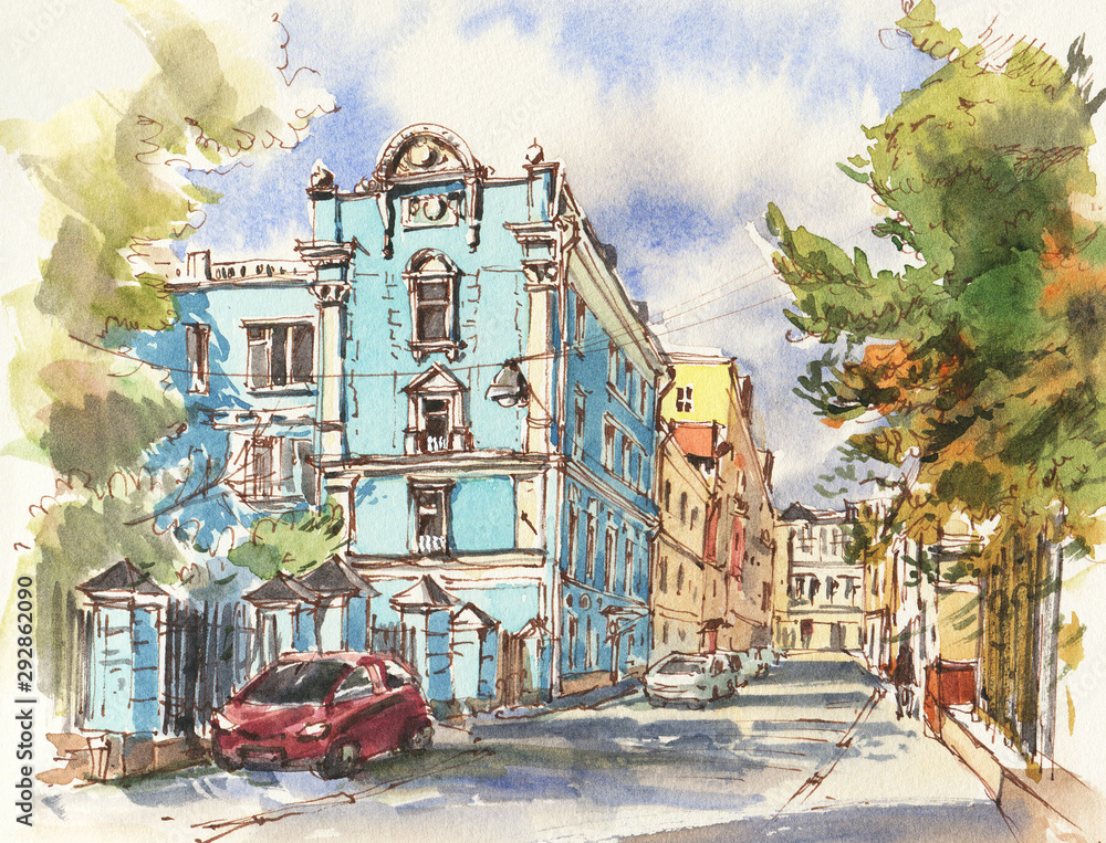 City landscape.  Sketch ink and watercolor