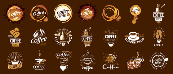 Set of coffee logos. Vector illustration on brown background