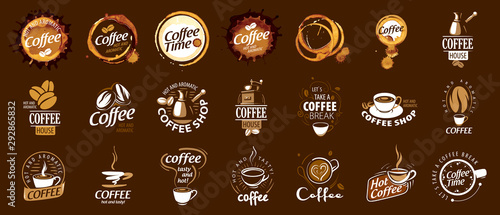 Fototapeta  Set of coffee logos. Vector illustration on brown background