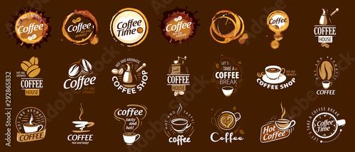 фотография Set of coffee logos. Vector illustration on brown background