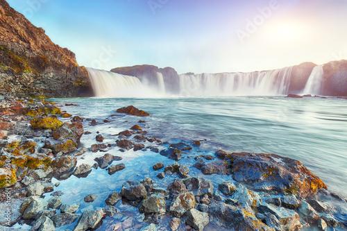 Photo sur Aluminium Piscine Fabulous scene of powerful Godafoss waterfall