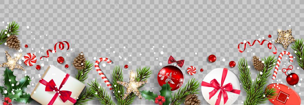 Fototapeta Isolated winter Christmas holiday banner