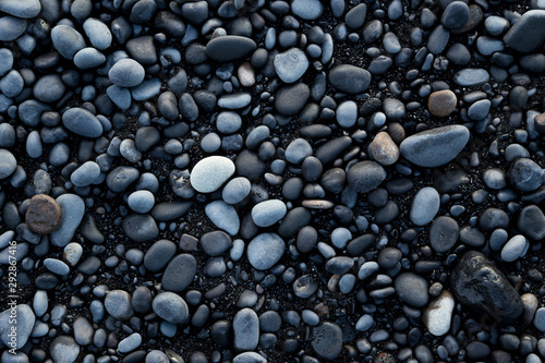 Fototapeta Volcanic rock on black sand beach at Vik, Iceland obraz