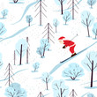 Seamless festive pattern with winter forest and santa claus. Santa Claus is skiing. Scandinavian landscape with firs and snowy trees. Creative illustration for the children. Flat cartoon style