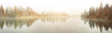 Dramatic Foggy Autumn Landscape. View On Federa Lake Early In The Morning At Autumn