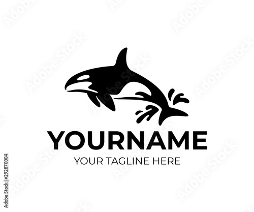 Fototapeta Killer whale jumping out of water with drops, logo design