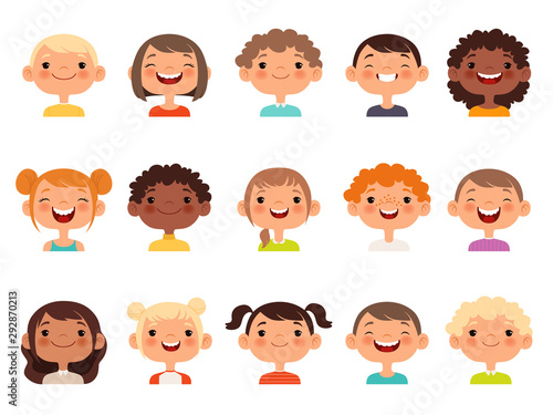 Kids faces. Child expression faces little boys and girls cartoon avatars vector collection. Girl and boy avatar, young teenager female and male illustration
