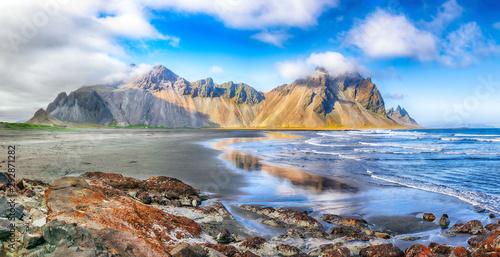 Aluminium Prints Dark grey Fantastic sunny day and dramatic black sand beach on Stokksnes cape in Iceland.