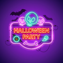 Halloween Party Neon Sign With Skulls And Black Bats. Greeting Card. Vector Poster Illustration For Your Holiday Projects In Retro-futuristic Style.