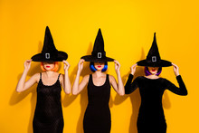 Photo Of Three Thrilling Disguise Haunted Devil Evil Macabre Charmed Ladies Hiding Their Faces Do Not Want To Look At You Isolated Bright Color Background