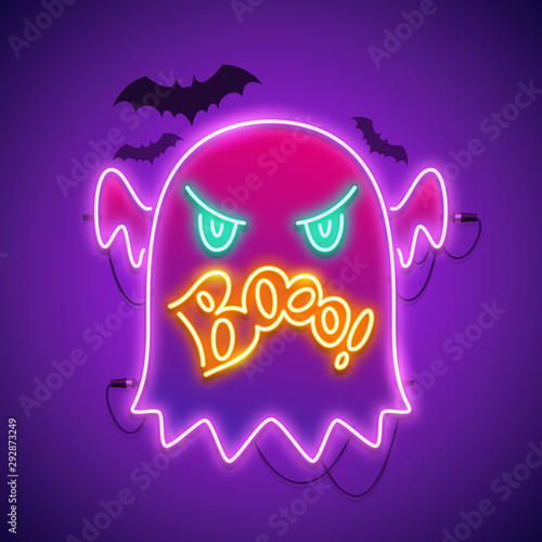 Obraz na plátne Halloween neon sign with angry ghost boo and bats shapes
