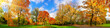 Leinwanddruck Bild - Colorful park panorama in autumn