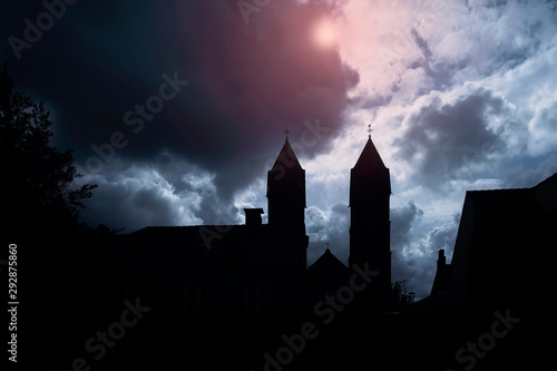 Recess Fitting Castle Silhouette of medieval castle and the cathedral church, night over dark sky background with the full moon