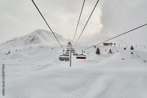 Ski lift on the Alps Canvas Print