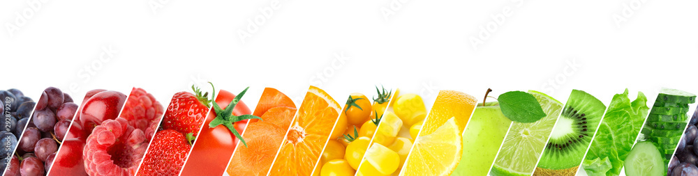 Fototapety, obrazy: Collage of color fruits and vegetables. Fresh ripe food