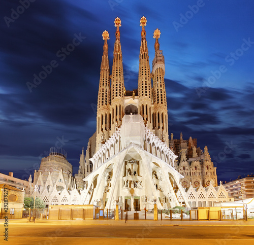 Foto auf Leinwand Barcelona Sagrada Familia, a large Roman Catholic church in Barcelona, Spain, designed by Catalan architect Antoni Gaudi, on February 10, 2016. Barcelona