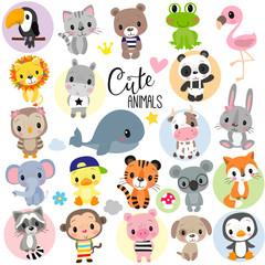 Cute Cartoon Animals on a white background